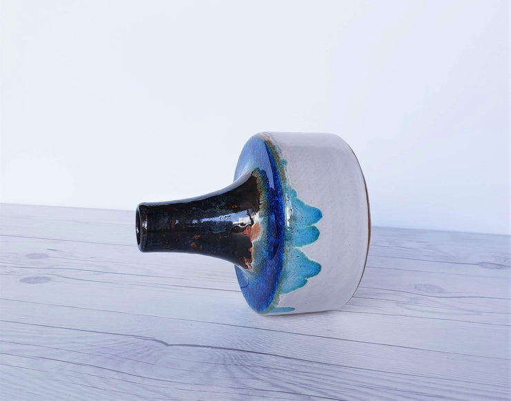 AnyesAttic Ceramic Erhard Goschala Bauhaus White & Blue Crystalline Glaze Chimney Ceramic Vase, 1960s-70s, Very Rare