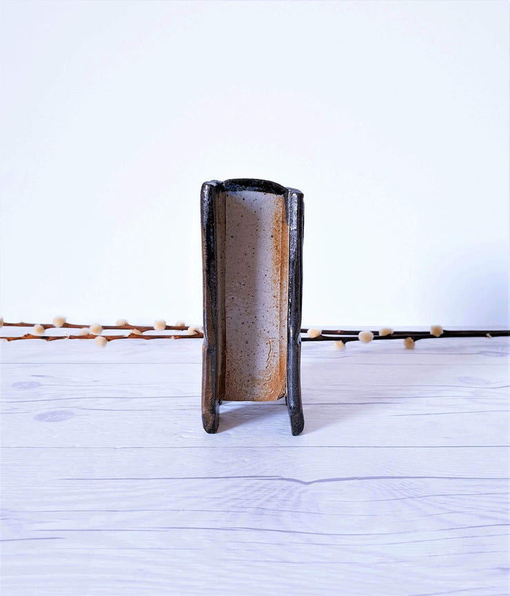 AnyesAttic Ceramic French Studio Ceramic, Contemporary 'Sandstone' Stoneware Sculpture, Rectangle Vase | 1980s - 1990s