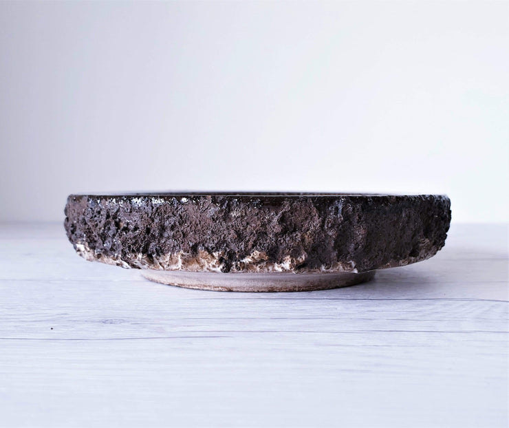 AnyesAttic Ceramic Glit Pottery, REAL Lava 'Fat Lava' in Rare 'Snow Blizzard' Blue Glaze Dish | Iceland, 1960-70s