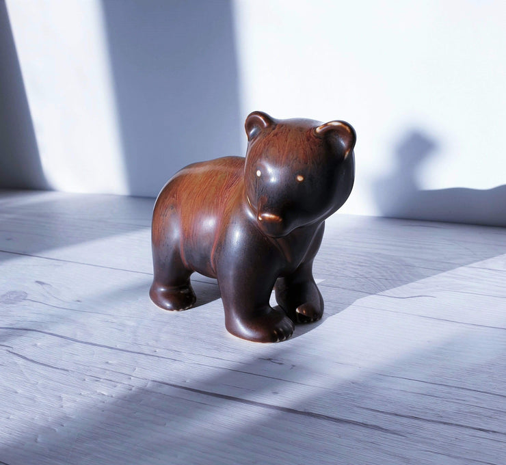 AnyesAttic Ceramic Gunnar Nylund for Rorstrand, Hares Fur Glaze, Modernist Brown Bear | 1950s, Signed, Swedish