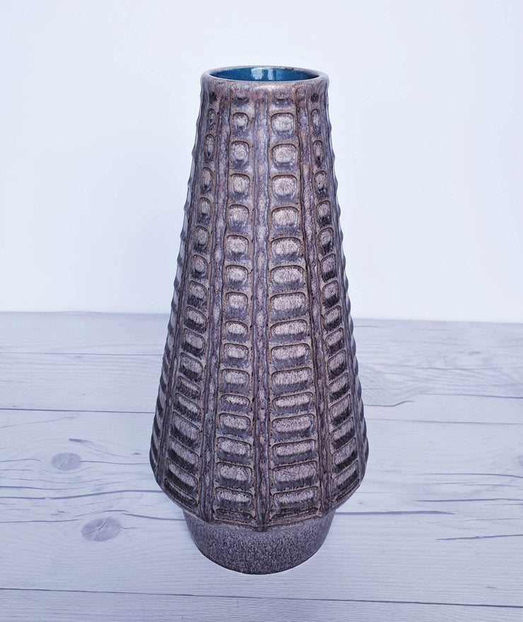 AnyesAttic Ceramic Jlkra (Ilkra) Textured 'Scales' Decor Blue Mocha Glaze Ceramic Pitcher Vase, 1970s, West German