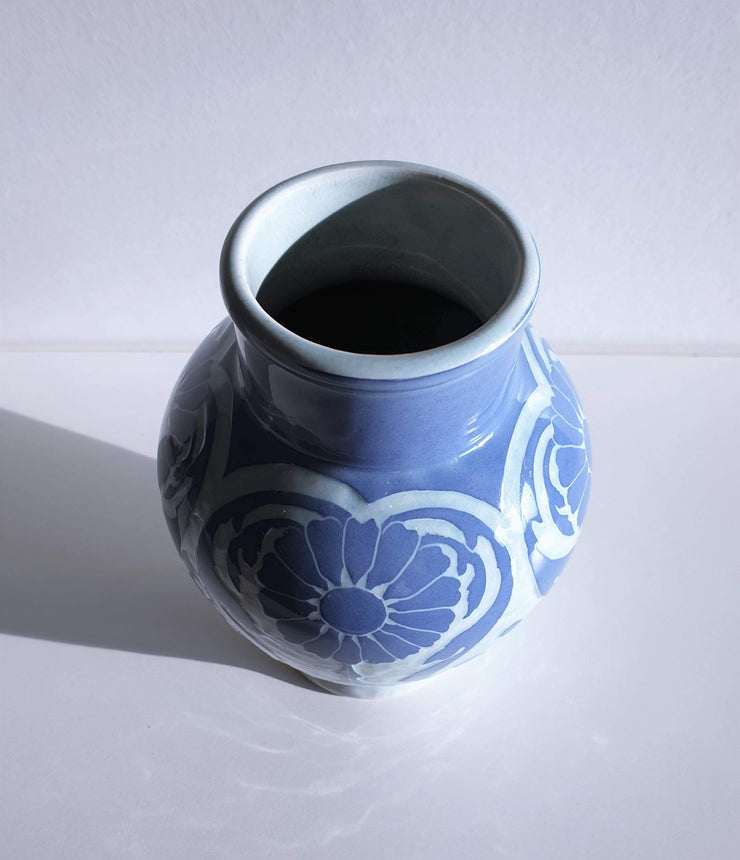 AnyesAttic Ceramic Josef Ekberg, 'Sgraffito' for Gustavsberg, 1909 Swedish Art Nouveau Floral Blue Ceramic Vase
