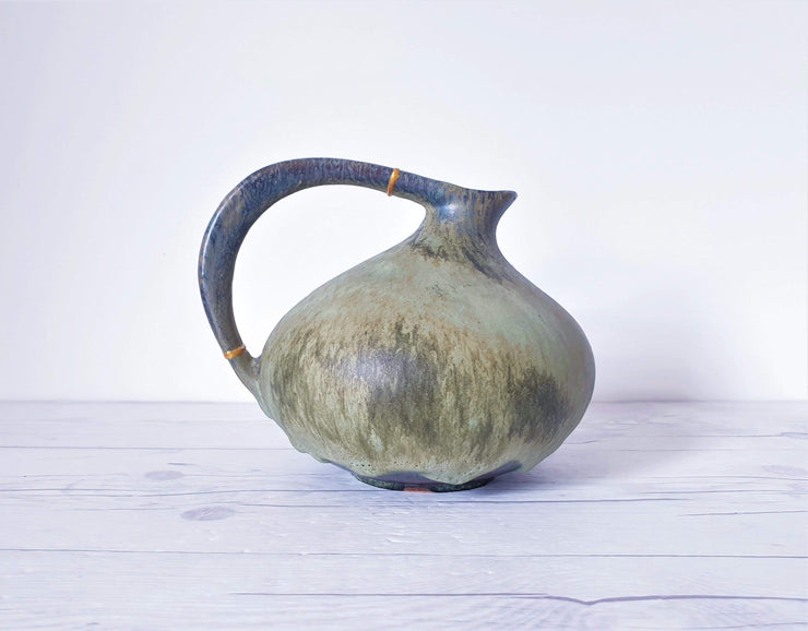 AnyesAttic Ceramic Kintsugi | Ruscha, Iconic '313' Sage Green Lava Glaze Pitcher Vase | West German, 60s – 70s