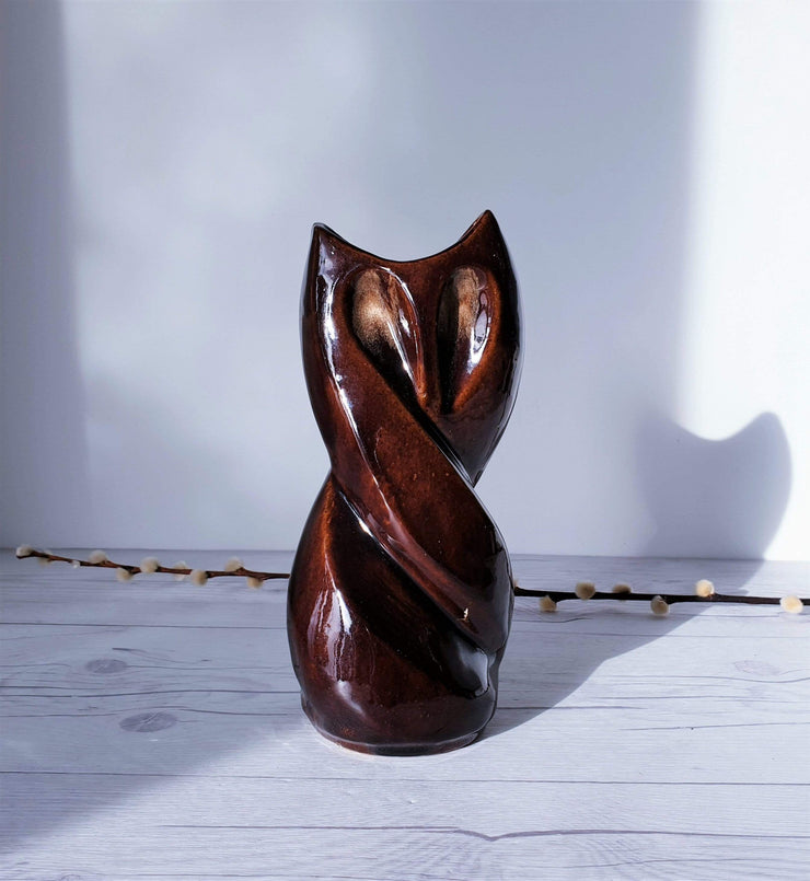 AnyesAttic Ceramic 'Owl Vase' by Reflex Craft Cooperative 'Spoldzielnia Rzemieslnicza' in Cherry Chocolate | 1970s