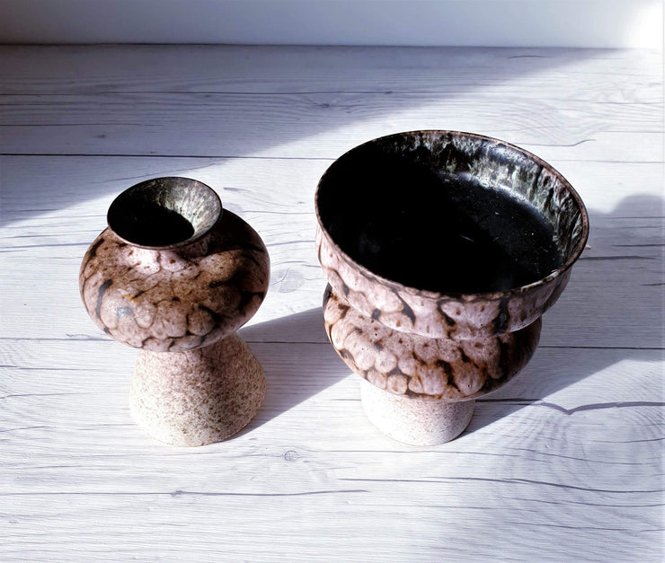 AnyesAttic Ceramic Pair of 1950s Albert Kiessling Keramik 'Choco Milk' Textured Foam Lava Glaze Mini Vases | Rare