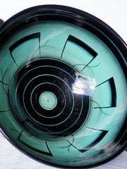 AnyesAttic Ceramic Rorstrand by Ilse Claesson, Art Deco 'V series' Mint Green and Black Footed Bowl, 1930s, Swedish
