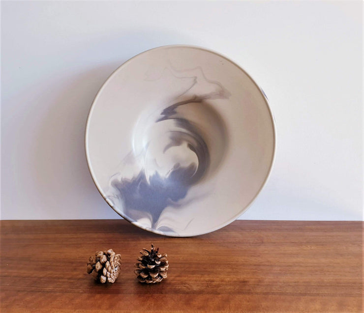 AnyesAttic Ceramic Rosenthal Studio Line, XL Queensberry Marble Sculptural Ceramic Dish, 1980s West German