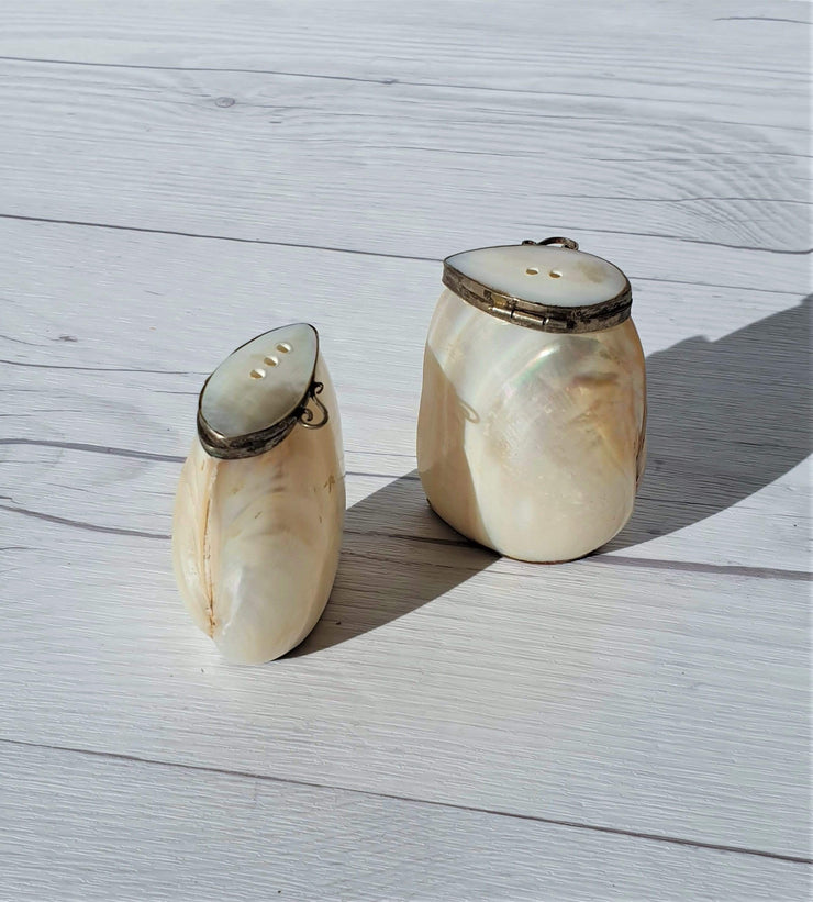 AnyesAttic Ceramic Vintage Cebu Clam Shell 'Mother of Pearl' and Silver Hinged Handmade Salt and Pepper Cruet Pots