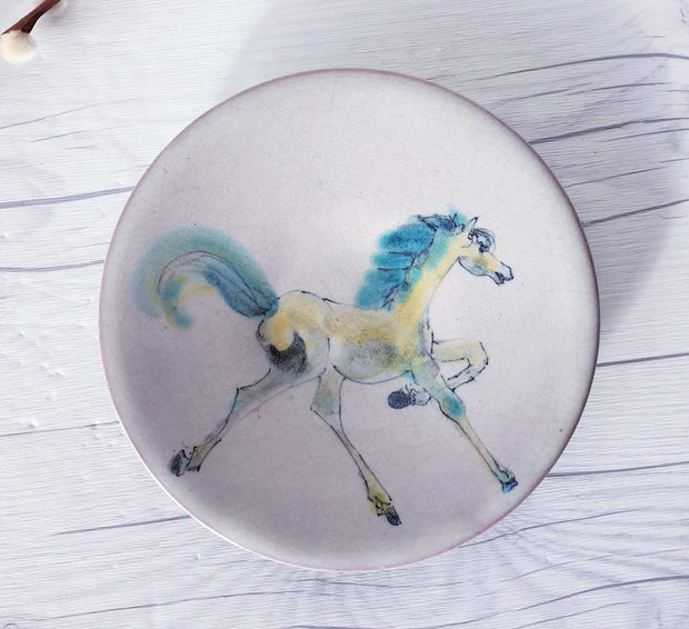 AnyesAttic Ceramic Vintage Dutch Studio Pottery Hand Painted / Illustrated Horse and Carriage Wall Plates | Signed