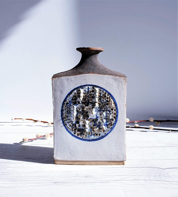 AnyesAttic Ceramic Vintage Studio Pottery, Contemporary Textured Relief, Contrast Glazed Slab Flask Vase | 1990s