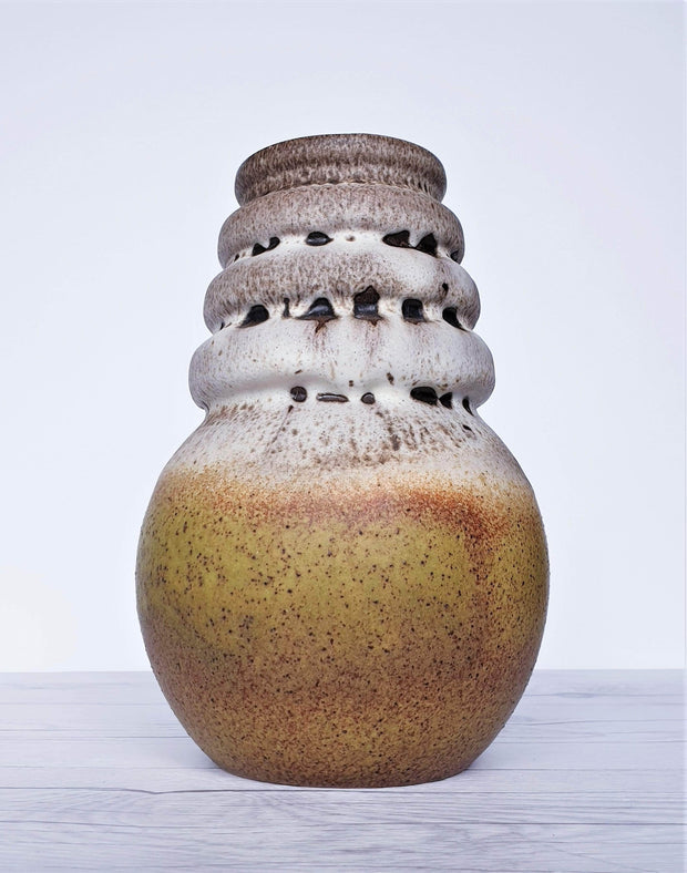 AnyesAttic Ceramic West German Pottery Fat Lava and Matte Foam Scheurich Golden Ball Ceramic Vase, 1970s, Nr. 269-22