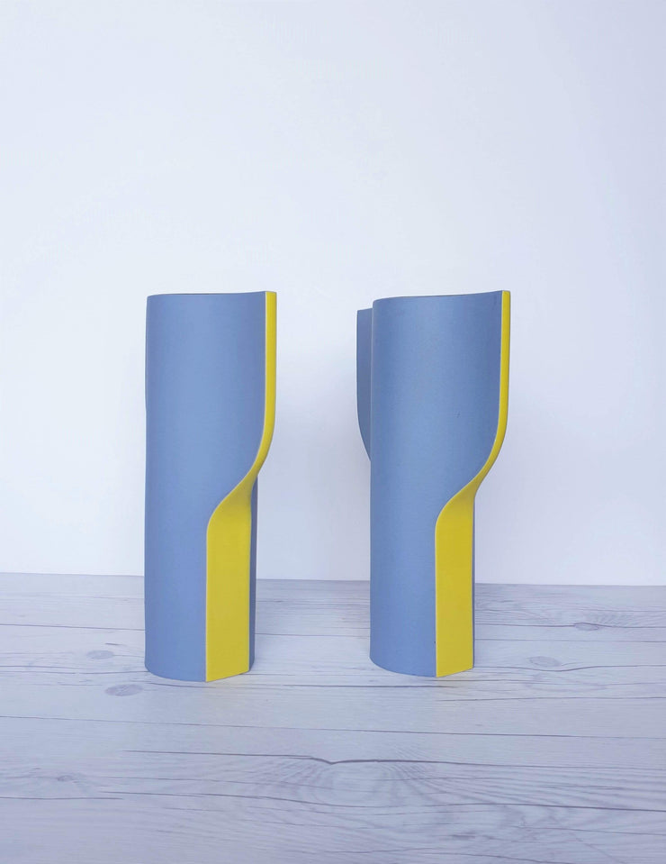 AnyesAttic Ceramic Wolf Karnagel for Toro Ceramica, Post Modern Ceramic Vase in Grey, Yellow and Blue | 1980s, Rare