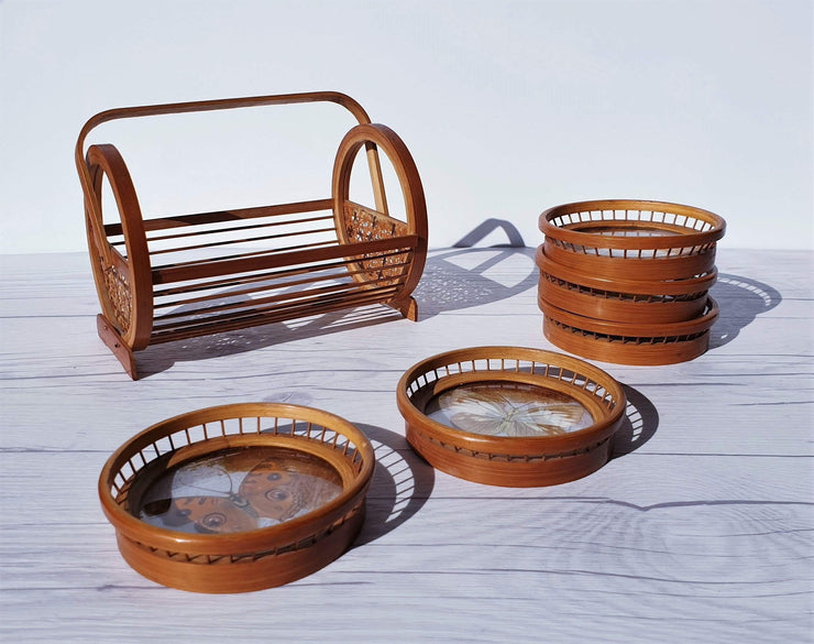 AnyesAttic Curio 1970s Japanese Set of 5 Woven Bamboo and Rattan, Butterfly Coasters and Storage Caddy