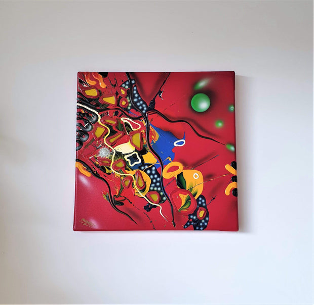 AnyesAttic Curio 1996 Atelier MicMac by Bea Schröder, Striking Pictographic Abstract Painting in Red | Signed, Dated
