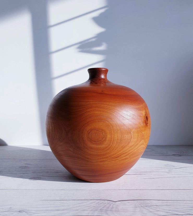 AnyesAttic Curio Mid Century Modern Hand Turned and Polished Cherrywood with Leopardwood Inlay Ball Vase