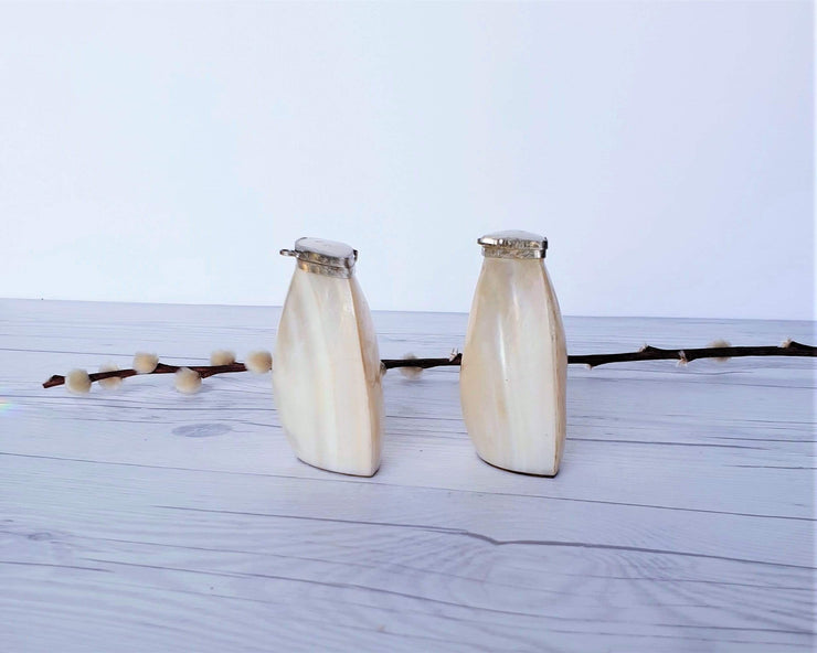 AnyesAttic Curio Vintage Cebu Clam Shell 'Mother of Pearl' and Silver Plated Handmade Salt and Pepper Cruet Pots
