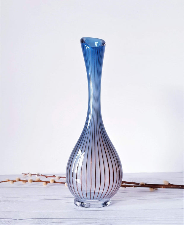 AnyesAttic Glass 1955-56 Vicke Lindstrand, LC1 of 'Colora' series for Kosta Glasbruk, Handblown Vase, Swedish, Rare