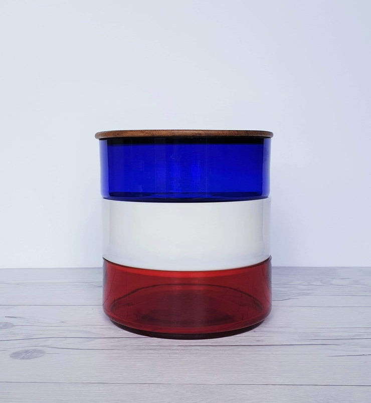AnyesAttic Glass 1970s Mid Century Modern Kitchenalia, Tricolore Red, White and Blue Glass and Teak Stackable Storage