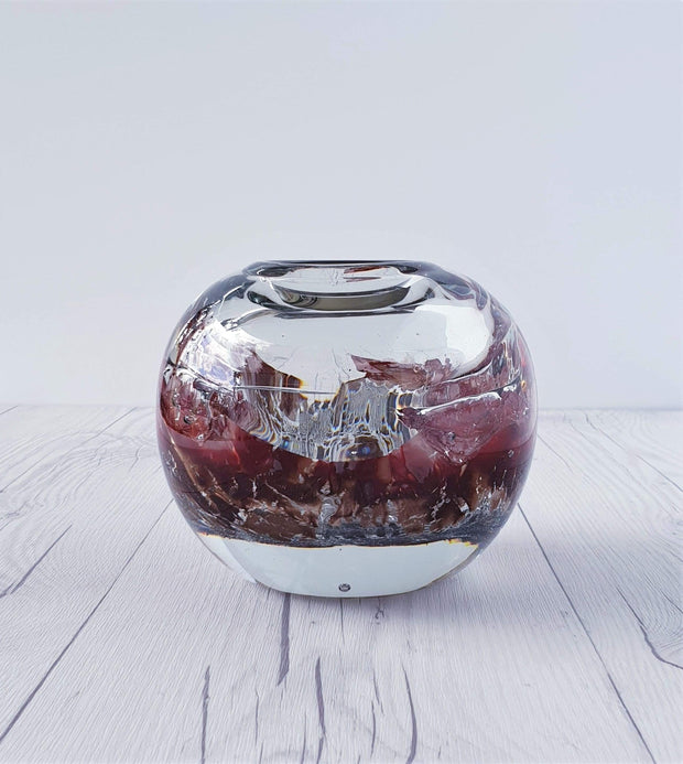 AnyesAttic Glass 1982 Udo Edelmann, Hand Blown 'Lava Ocean' Melted Layers Art Glass Ball Vase - Signed, West German