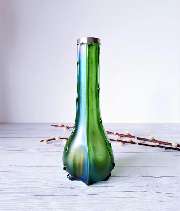 AnyesAttic Glass Antique 1910s-20s Loetz, Art Nouveau Iridescent Green with Hallmarked Silver Collar Art Glass Vase
