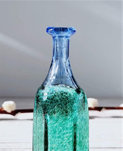 AnyesAttic Glass Bertil Vallien, (Kosta) Boda, Antikva Series, Miniature Sea-Green Geometric Bottle Vases Duo, 1970s