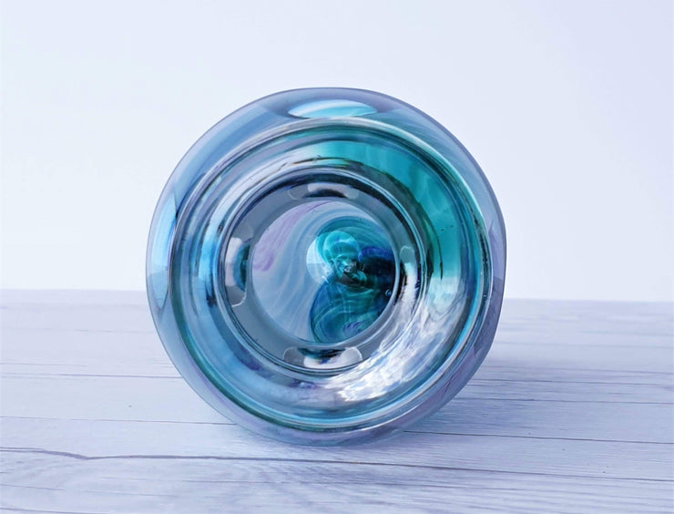 AnyesAttic Glass British Jane Charles Studio Glassworks 'Tidal' Series, Sandblasted and Faceted Art Glass Vase, 1990s