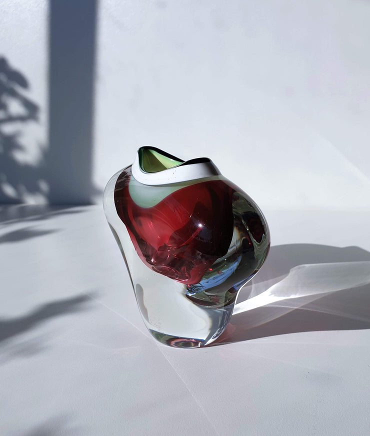 AnyesAttic Glass Chribska att Josef Hospodka Mid Century 'Open / Collared Heart' Pink, Green and White Art Glass Vase