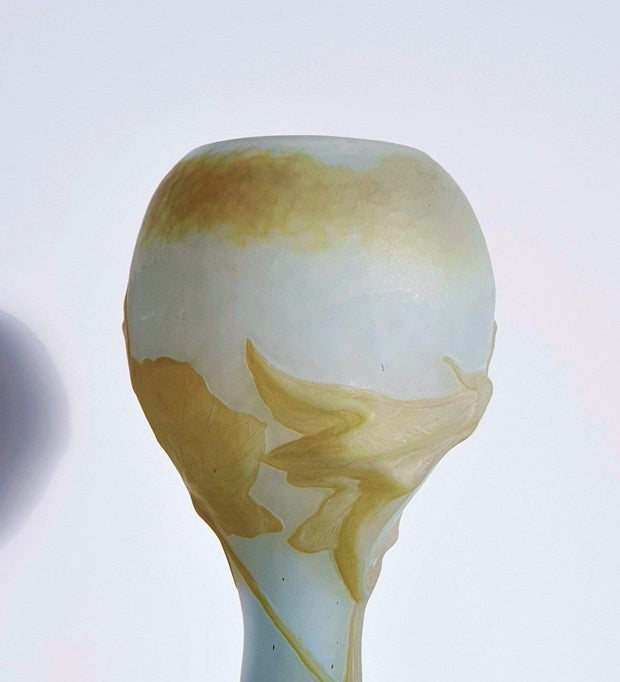 AnyesAttic Glass Daum 'Fleur de Coloquinte' French Art Nouveau Satin Cameo Glass Vase | c. 1900s, Antique