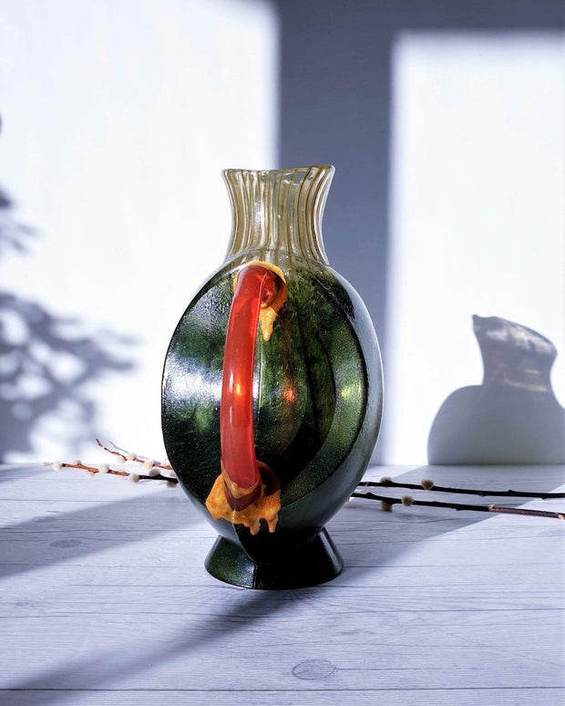 AnyesAttic Glass Kintsugi | Kjell Engman 'Corfu' series, Kosta Boda, Candied Forest Green and Coquelicot Orange Vase