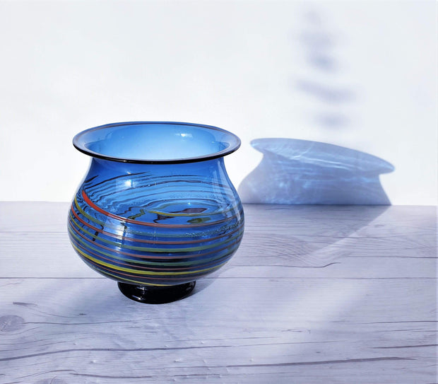 AnyesAttic Glass Mid Century Steel Blue Lucite with Swirl Band Decor Footed Bowl Vase | 1950s – 60s, German