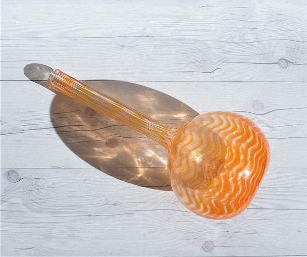 AnyesAttic Glass Modernist Handblown Wavy Striped, Orange Spectrum Art Glass Bottle Vase | 1960s