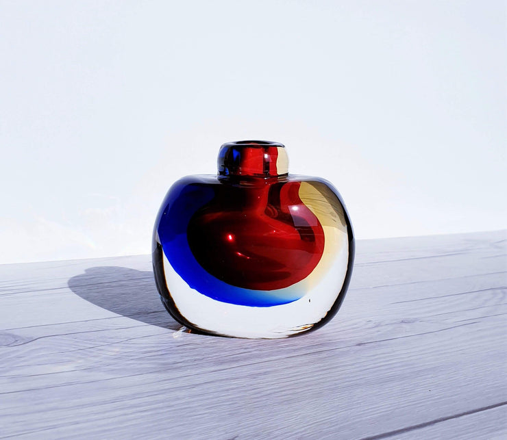 AnyesAttic Glass Murano Onesto Oball Red, Blue and Amber Double Layer Sommerso Art Glass Bottle | 1990s