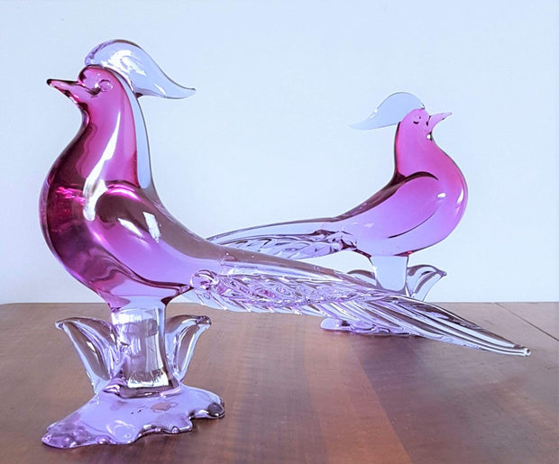 AnyesAttic Glass Pair of 1950s Murano by Archimede Seguso, Neodymium Sommerso Pheasant Bird Sculptures, Labelled