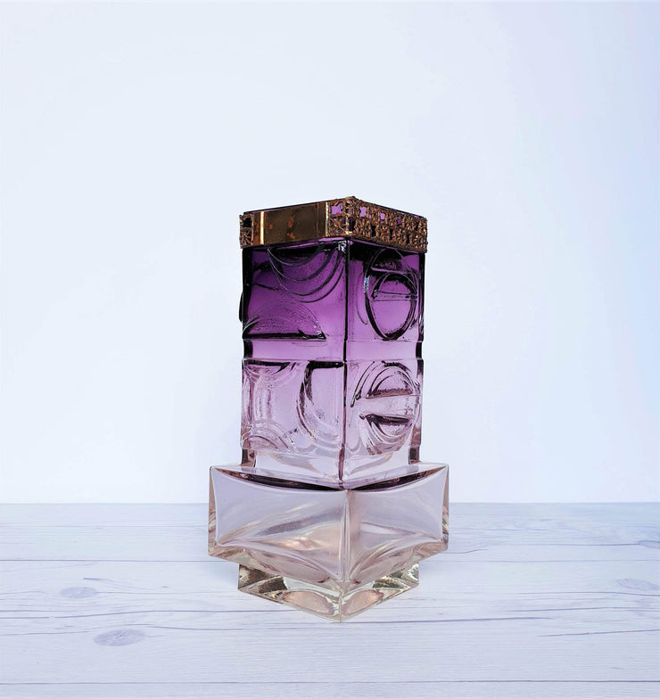 AnyesAttic Glass Pentti Sarpaneva, Oy Kumela for Turun Hopea Modernist Bronze and Purple Art Glass Vase, 1970s
