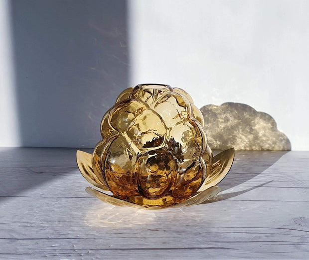 AnyesAttic Glass Rubus Series by Gunnar Muskos, 'Hjortron' Cloudberry Lantern, Amber Glass and Brass | Swedish, 1980s