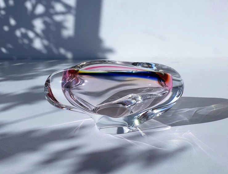 AnyesAttic Glass Skrdlovice Czech Sculpted Art Glass Dish, 1960s, Jan Beranek, Clear with Blue, Pink and Yellow