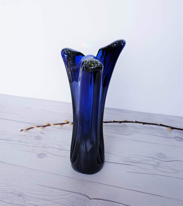 AnyesAttic Glass Vintage Contemporary Iridescent Cobalt Blue with Confetti Frit Decor Tricorn Studio Art Glass Vase