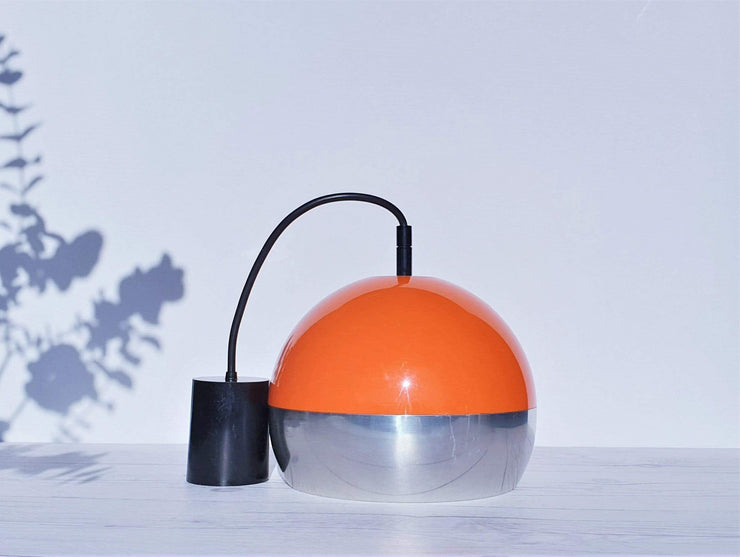 AnyesAttic Lighting 1960s - 70s Atomic Space Age Design, Orange and Chrome Pendant Ceiling Light / Lampshade