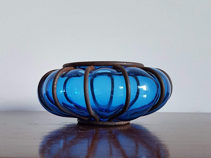 AnyesAttic Lighting 1960s Vintage Boho Handblown Caged Blue Bubble Glass Candle Holder / Lantern