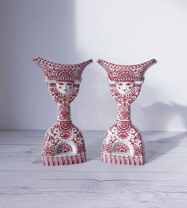AnyesAttic Lighting Jacob E Bang for Nymolle, Pair of Double-Sided Illustrated Bougeoir Candlesticks | 1960s-70s, Rare