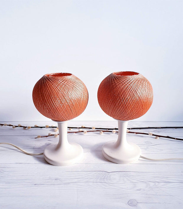 AnyesAttic Lighting Pair of 1950s-60s Mid Century Modernist, Woven Cocoon Coral and Cream Table Lamps | Panton Era