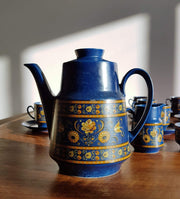 AnyesAttic Porcelain Winterling Schwarzenbach Bavaria, Mid Century Indian Blue Coffee Set for 12 (29 pieces), 1960s