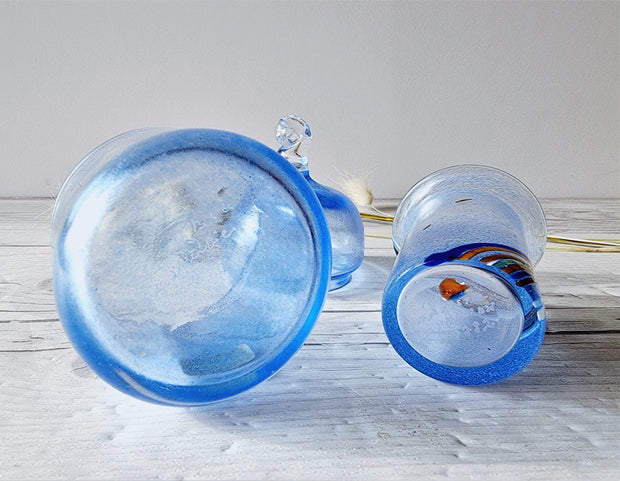 Kosta Boda Glass Glass Bertil Vallien for Kosta Boda Duo: Blue Rainbow Vase and Blue Starlight Palette Lidded Pot, Rare