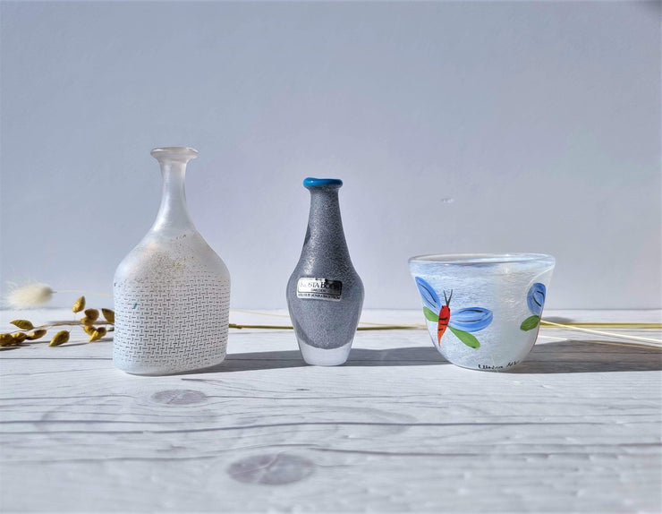 Kosta Boda Glass Glass Kosta Boda Mini Trio: Butterfly Bowl by U H-Vallien, Network by B Vallien, Sunny by M Backstrom