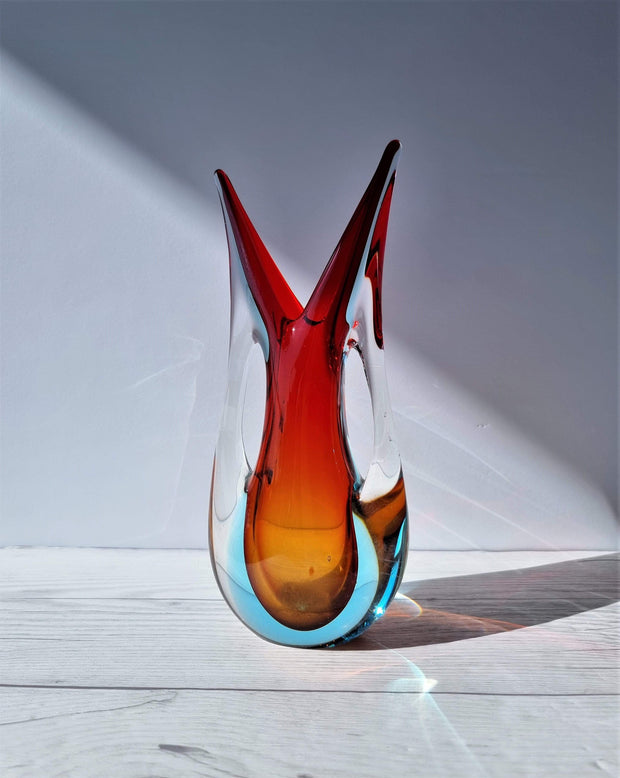 Murano Glass Murano Red, Blue and Amber Double Layer Sommerso Twin-Handled Fishtail Vase, 1960-70s, Rare Form