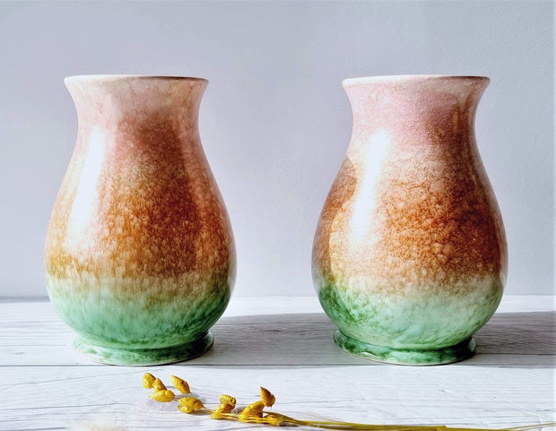 Sylvac Pottery Ceramic Pair of SylvaC Mid Century Flare Bottle Vases, Rainbow Sherbert Palette Foam Glaze, British, 1950s