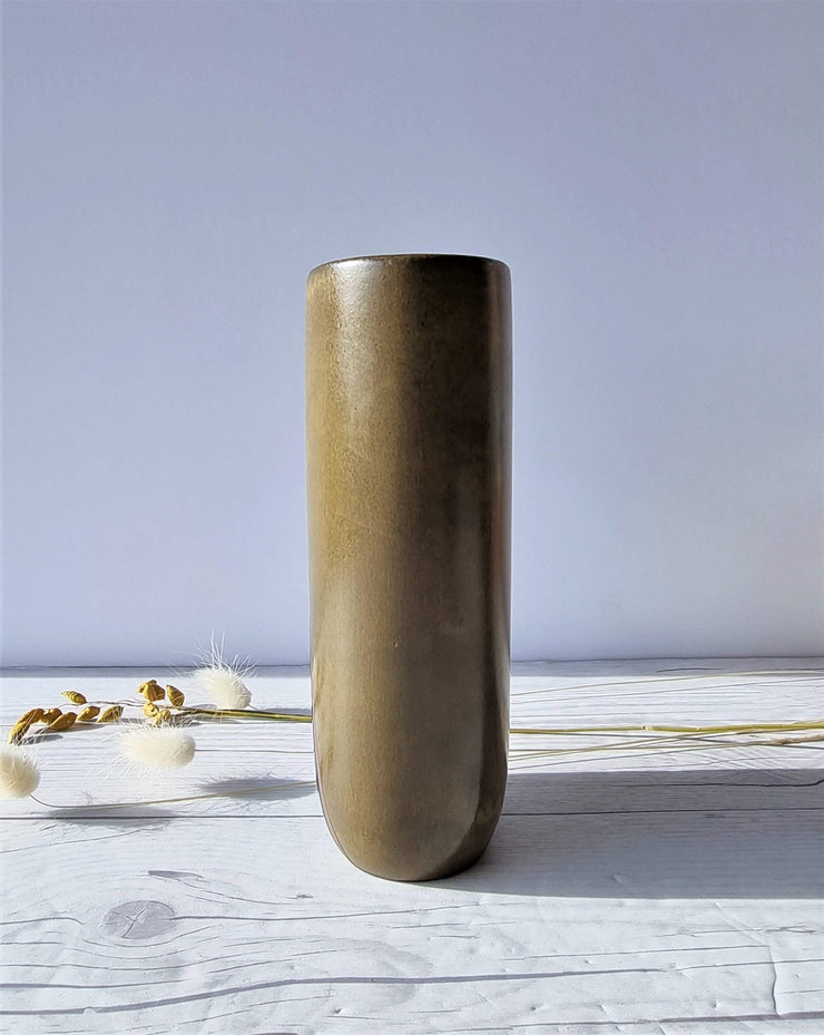 Upsala Ekeby Ceramic Hjordis Oldfors for Upsala Ekeby, 1955 'Diagonal' Series, Olive and Umber Modernist Sculptural Vase
