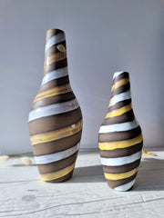 Upsala Ekeby Ceramic Ingrid Atterberg for Upsala Ekeby, Pair of 1949 'Spiral' Series Sculptural Earthenware Vases