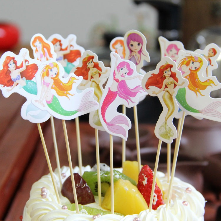 12pcs Mermaid Cupcake Topper Cartoon Theme Birthday Party Supplies