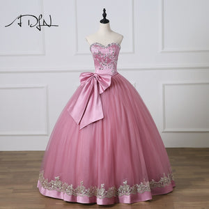19aa8ae67e9 ADLN 2018 New Sweetheart Sleeveless Ball Gown Quinceanera Dresses Custom  Made Sweet 16 Dress with Bow